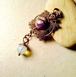 Pendant with natural amethyst and adularia