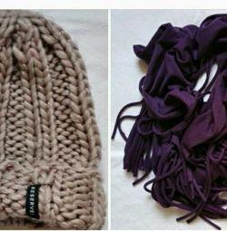 Γυναικεία κασκόλ καπέλο με φούντες