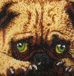 """Imaginea """"Câine (pug)"""" brodată cu margele"""