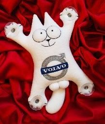 Simon's cat with the Volvo logo