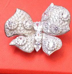 Brooch butterfly new silver