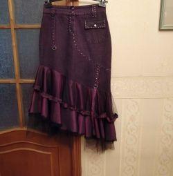 Τζιν φούστα με δαντέλα