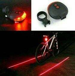 Вело фонарь задний (диоды +2 лазера)
