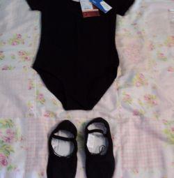 Leotard nou gimnastică și pantofi noi de balet