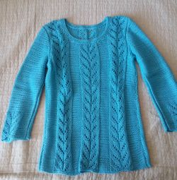 Hand knitting. Pullover for girls