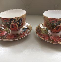Продам пару красивих порцелянових чашок з блюдцем