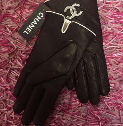 Chanel gMănuși de ciocolată, din piele, originale
