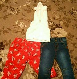 Îmbrăcăminte pentru o fată de 3-6 luni (vesta, blugi, cald