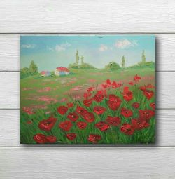 Oil painting Field Poppies