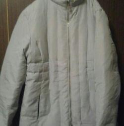 Пуховая куртка,50 р., жемчужного цвета.