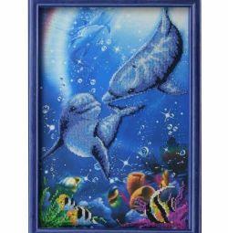 Картина бісером «Дельфіни»