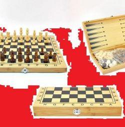 Joc 3 în 1 șah, dame, table (din lemn)