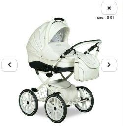 Indigo stroller (ECO leather, white)