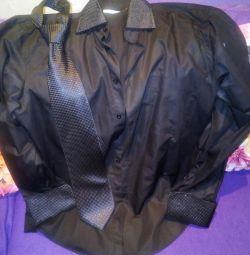 Мужская рубашка с запонками 46-48р