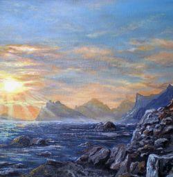 """Vânzare pictură în ulei """"Apus de soare în golful albastru"""""""