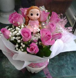 Букет дитячий солодкий з іграшкою цукерки квіти