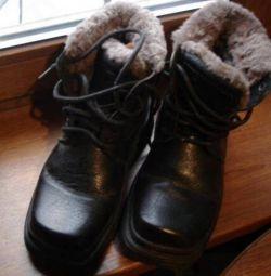 мужские высокие зимние ботинки р 39 цигейка-кожа.