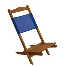BEACH CHAIR WOODEN SPACIOUS WAX WITH PVC BLUE