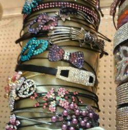 Headbands for hair. Bracelets. In stock