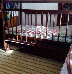 Bed children's pendulum with drawer and mattress