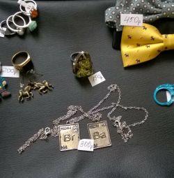Кольца, серьги, кулоны, бабочки и брелок
