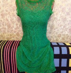 Emerald φόρεμα δαντέλα χρώμα