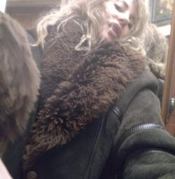 Παλτό παλτό, φυσικό, πολύ ζεστό, μέγεθος L
