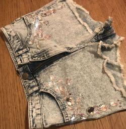 Шорты джинсовые с высокой талией до пупка h&m xs