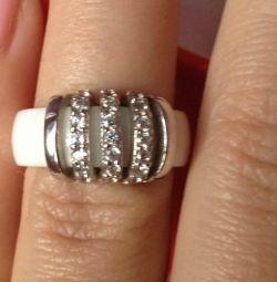 Ασημένιο κεραμικό δαχτυλίδι