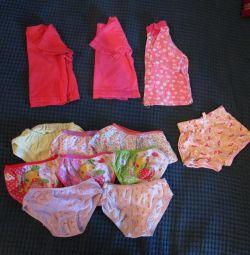 Panties, T-shirts, shorts, tights
