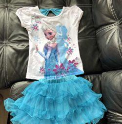 Cold heart Elsa set skirt T-shirt 110-1