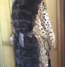 New fur coat ocelot and finnish arctic fox