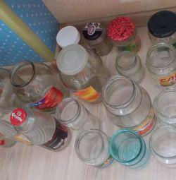 Borcane și sticle de sticlă în stoc, 22pcs