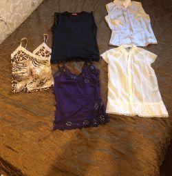 Μπλούζα / κορυφή / μπλούζα, μετάξι, πλεκτά, βαμβάκι