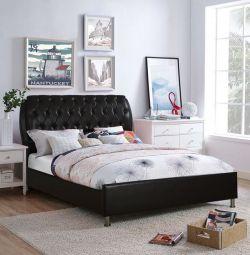 Κρεβάτι Ariane με Σκούρο Καφέ PU 150x200