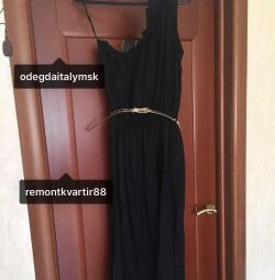 Dress sundress new long black flared viscose r