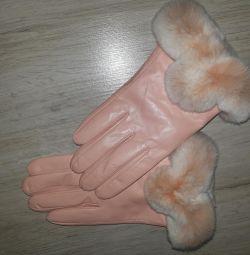 Mănuși din piele naturală și blănuri de dimensiune 8
