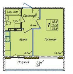 Ev, 1 oda, 34 m²
