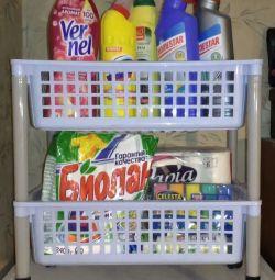 Low shelf for kitchen or bathroom