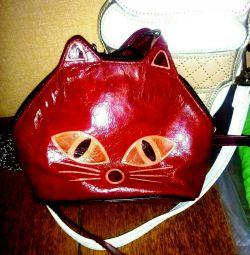 Leather handbag cat