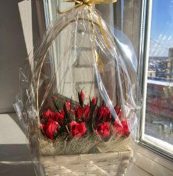 Roses from sweets in a basket