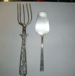 dessert fork and shoulder blade nickel silver ussr