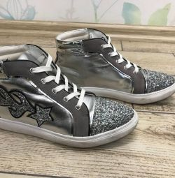 ANDRE sneakers from France silver with sparkles