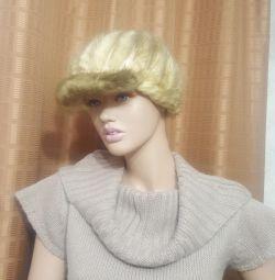 Pălărie tricotată din nurcă de iarnă