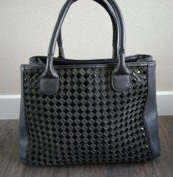 Сумка, кожа пресованная, серая сумка