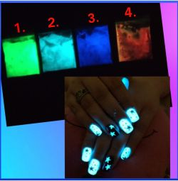 Powders for nail design glowing.