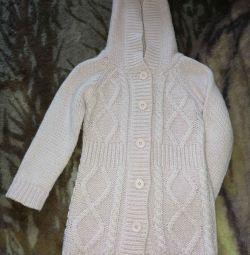 Μάλλινη μπλούζα με κουμπιά, ύψος 90 εκ