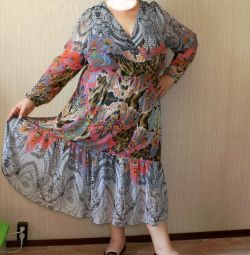 60-64 шёлк 100% платье шифоновое на подкладке