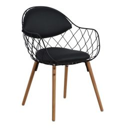 MELIA HM8047.01 ARMCHAIR BLACK WITH BLACK PU WOODEN