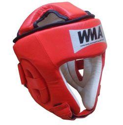 Шлем защитный бокс (нат. кожа) (красно/белый)
